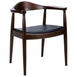 Krzesło KENNEDY ciemnobrązowe - drewno jesion ekoskóra