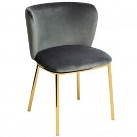 Krzesło MANTIS ciemny szary - welur podstawa złota