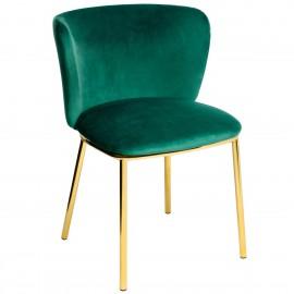 Krzesło MANTIS ciemny zielony - welur podstawa złota