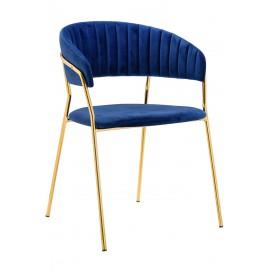 Krzesło MARGO ciemny niebieski - welur podstawa złota