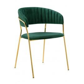 Krzesło MARGO ciemny zielony - welur podstawa złota