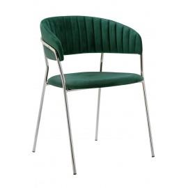 Krzesło MARGO SILVER ciemny zielony - welur podstawa chromowana