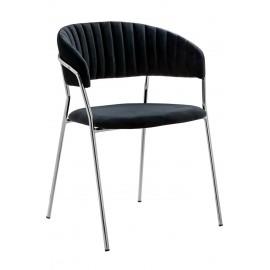 Krzesło MARGO SILVER czarne - welur podstawa chromowana
