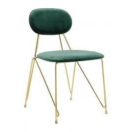 Krzesło MOLY ciemny zielony - welur podstawa złota
