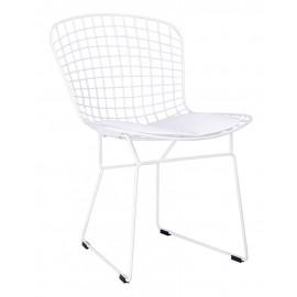 Krzesło NET SOFT białe - biała poduszka metal