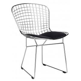 Krzesło NET SOFT chrom - czarna poduszka metal