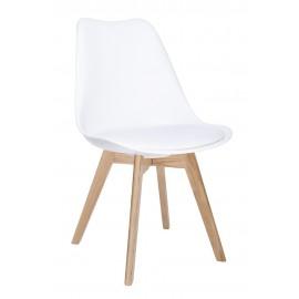 Krzesło NORDIC PREMIUM białe - podstawa dębowa poduszka z ekoskóry