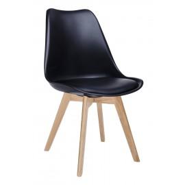 Krzesło NORDIC PREMIUM czarne - podstawa dębowa poduszka z ekoskóry