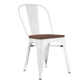 Krzesło TOWER WOOD białe - sosna antyczna metal