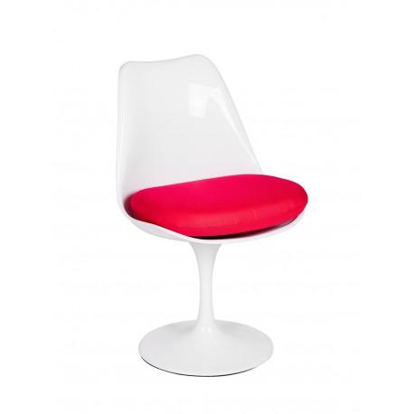 Krzesło TULIP białe z czerwoną poduszką - ABS podstawa metalowa