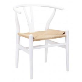 Krzesło WISHBONE białe - drewno bukowe naturalne włókno