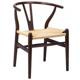 Krzesło WISHBONE ciemny brąz - drewno bukowe naturalne włókno