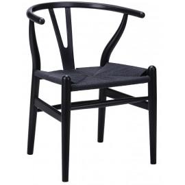 Krzesło WISHBONE czarne - drewno bukowe czarne włókno