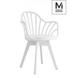 MODESTO fotel ALBERT ARM biały - polipropylen ekoskóra