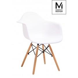 MODESTO fotel DAW DSW biały - polipropylen nogi bukowe