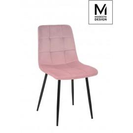 MODESTO krzesło CARLO pudrowy róż - welur metal