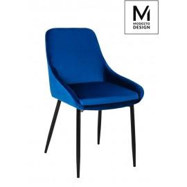 MODESTO krzesło CLOVER ciemny niebieski - welur metal