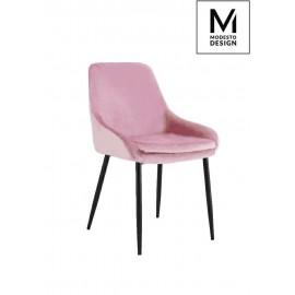 MODESTO krzesło CLOVER pudrowy róż - welur metal