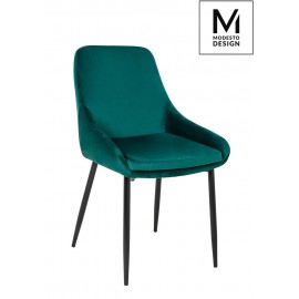 MODESTO krzesło CLOVER zielone - welur metal