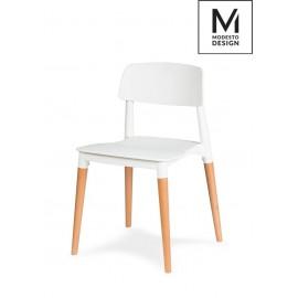 MODESTO krzesło ECCO białe - polipropylen podstawa bukowa