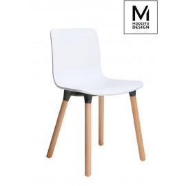 MODESTO krzesło HOLY WOOD białe - polipropylen nogi bukowe