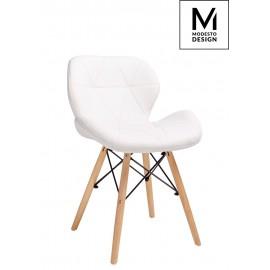 MODESTO krzesło KLIPP białe - ekoskóra podstawa bukowa