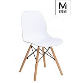 MODESTO krzesło LEAF WOOD białe - polipropylen podstawa bukowa