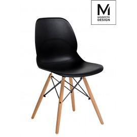 MODESTO krzesło LEAF WOOD czarne - polipropylen podstawa bukowa