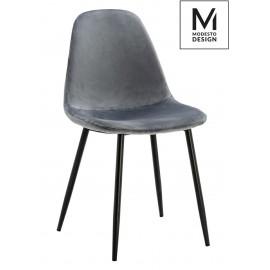 MODESTO krzesło LUCY szare - welur metal