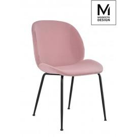 MODESTO krzesło SCOOP pudrowy róż - welur metal