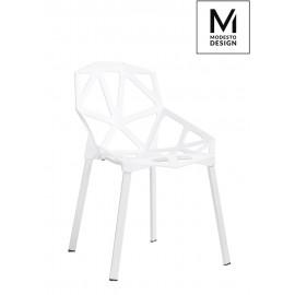 MODESTO krzesło SPLIT MAT białe - polipropylen podstawa metalowa