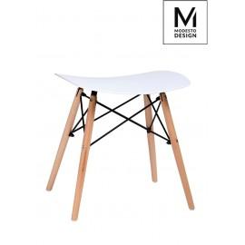 MODESTO stołek BORD biały - polipropylen podstawa bukowa