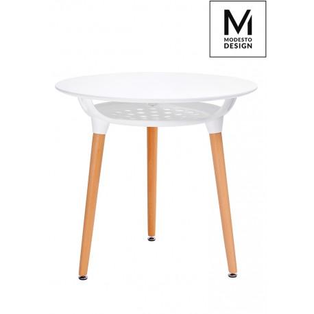 MODESTO stół HIDE FI 80 biały - blat MDF podstawa drewniana