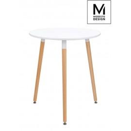 MODESTO stół NOLAN FI 60 biały - blat MDF nogi bukowe