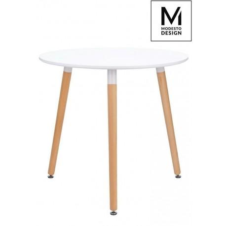 MODESTO stół NOLAN FI 80 biały - blat MDF nogi bukowe