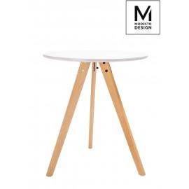 MODESTO stół TRIPOD FI 60 biały - blat MDF nogi bukowe