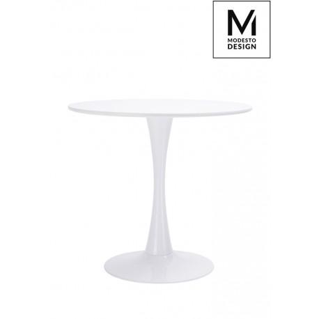 MODESTO stół TULIP FI 80 biały - MDF podstawa metalowa