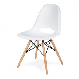 Krzesło GULAR DSW białe - polipropylen podstawa bukowa