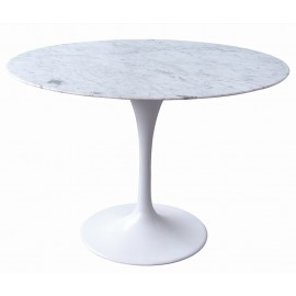 Stół TULIP MARBLE 120 CARRARA biały - blat okrągły marmurowy metal
