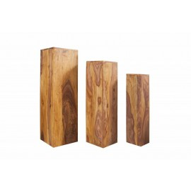 IMVICTA kolumny MAKASSAR zestaw 3 sztuk - Sheesham drewno naturalne