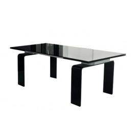 Stół szklany ATLANTIS BLACK 140/200 - rozkładany szkło czarne
