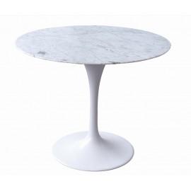 Stół TULIP MARBLE 90 CARRARA biały - blat okrągły marmurowy metal