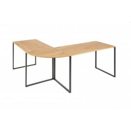 INVICTA biurko narożne BIG DEAL dębowe - MDF metal czarny