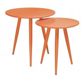 Zestaw stolików LEO pomarańczowe - MDF metal