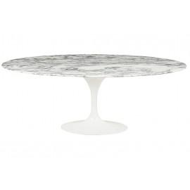 Stół TULIP ELLIPSE MARBLE ARABESCATO - biały - blat owalny marmurowy metal