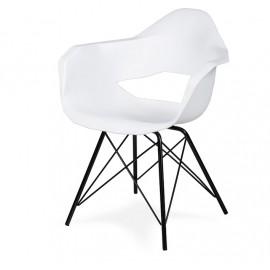 Fotel GULAR DSM biały - polipropylen podstawa metalowa czarna