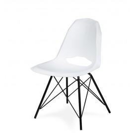 Krzesło GULAR DSM białe - polipropylen podstawa czarna metalowa