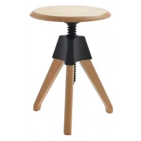 Stołek JERRY czarny - polipropylen drewno