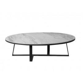 Owalny stolik kawowy szary marmurowy błyszczący blat 130x70x36 cm T086