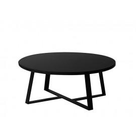 Okrągły stolik kawowy czarny matowy marmurowy blat 90x36 cm T013
